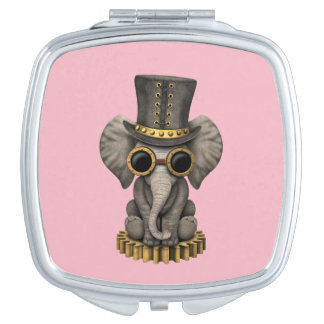Cute Steampunk Baby Elephant Cub Mirror For Makeup