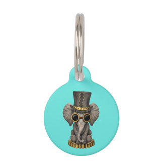 Cute Steampunk Baby Elephant Cub Pet ID Tag