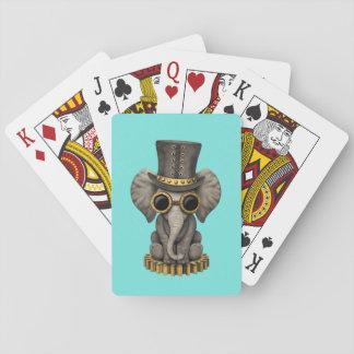 Cute Steampunk Baby Elephant Cub Playing Cards