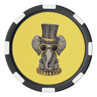 Cute Steampunk Baby Elephant Cub Poker Chips