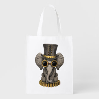 Cute Steampunk Baby Elephant Cub Reusable Grocery Bag