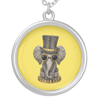 Cute Steampunk Baby Elephant Cub Silver Plated Necklace