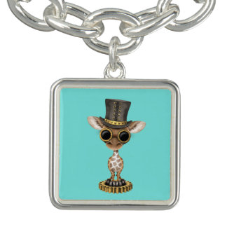 Cute Steampunk Baby Giraffe Charm Bracelet