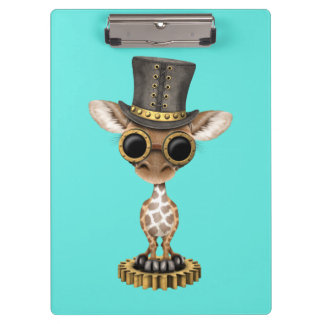 Cute Steampunk Baby Giraffe Clipboard
