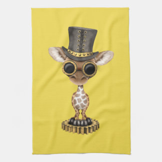 Cute Steampunk Baby Giraffe Kitchen Towel