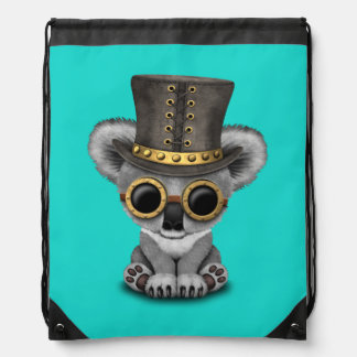 Cute Steampunk Baby Koala Bear Drawstring Bag