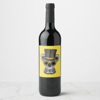 Cute Steampunk Baby Koala Bear Wine Label