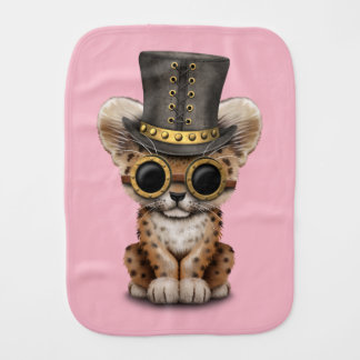 Cute Steampunk Baby Leopard Cub Burp Cloth
