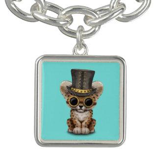 Cute Steampunk Baby Leopard Cub Charm Bracelets