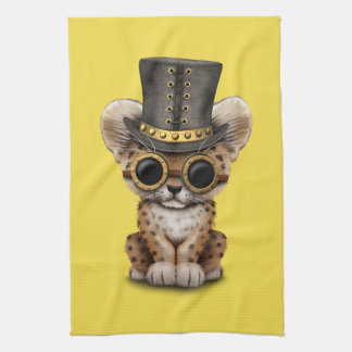 Cute Steampunk Baby Leopard Cub Kitchen Towel