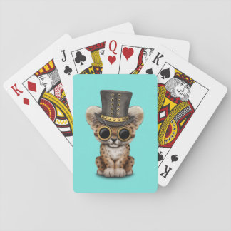 Cute Steampunk Baby Leopard Cub Playing Cards
