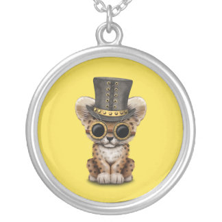 Cute Steampunk Baby Leopard Cub Silver Plated Necklace