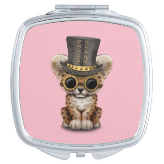 Cute Steampunk Baby Leopard Cub Travel Mirror