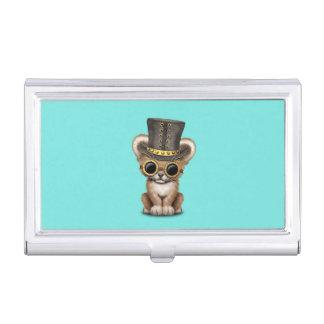 Cute Steampunk Baby Lion Cub Business Card Holder