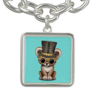 Cute Steampunk Baby Lion Cub Charm Bracelet