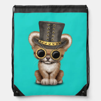 Cute Steampunk Baby Lion Cub Drawstring Bag