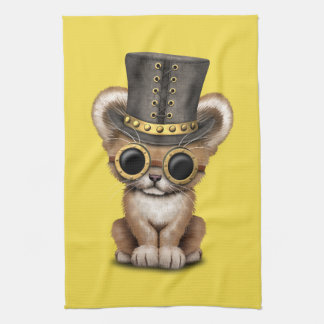 Cute Steampunk Baby Lion Cub Kitchen Towel