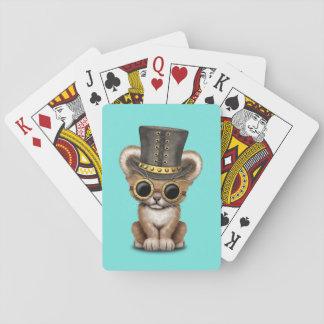 Cute Steampunk Baby Lion Cub Playing Cards