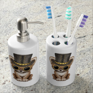 Cute Steampunk Baby Lion Cub Soap Dispenser And Toothbrush Holder