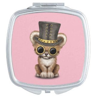 Cute Steampunk Baby Lion Cub Travel Mirror