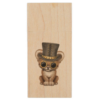 Cute Steampunk Baby Lion Cub Wood USB Flash Drive