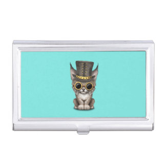 Cute Steampunk Baby Lynx Cub Business Card Holder