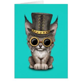 Cute Steampunk Baby Lynx Cub Card