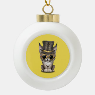 Cute Steampunk Baby Lynx Cub Ceramic Ball Christmas Ornament