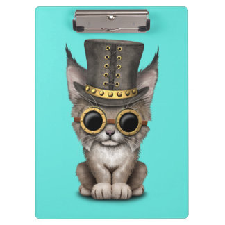 Cute Steampunk Baby Lynx Cub Clipboard