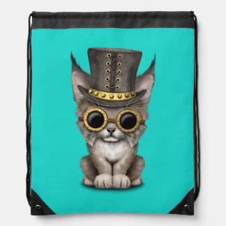 Cute Steampunk Baby Lynx Cub Drawstring Bag