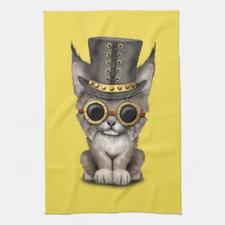 Cute Steampunk Baby Lynx Cub Kitchen Towel