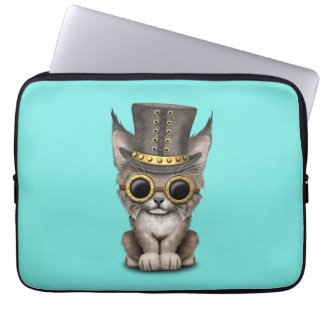 Cute Steampunk Baby Lynx Cub Laptop Sleeve
