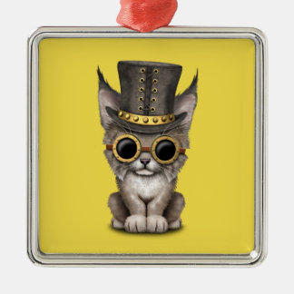 Cute Steampunk Baby Lynx Cub Metal Ornament