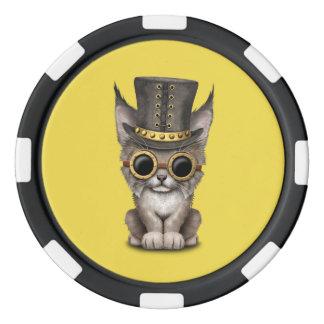 Cute Steampunk Baby Lynx Cub Poker Chips