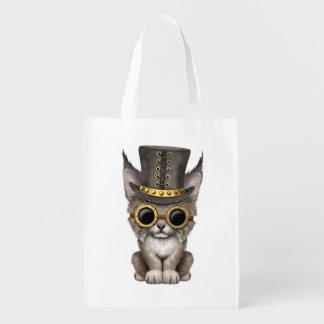 Cute Steampunk Baby Lynx Cub Reusable Grocery Bag