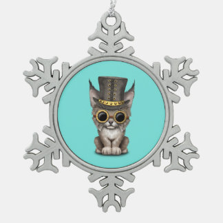 Cute Steampunk Baby Lynx Cub Snowflake Pewter Christmas Ornament