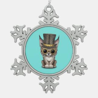 Cute Steampunk Baby Lynx Cub Snowflake Pewter Christmas Ornament