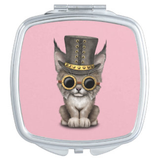 Cute Steampunk Baby Lynx Cub Travel Mirror