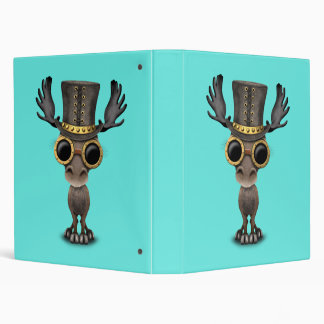 Cute Steampunk Baby Moose 3 Ring Binder