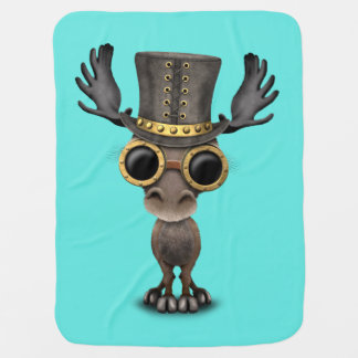 Cute Steampunk Baby Moose Baby Blanket