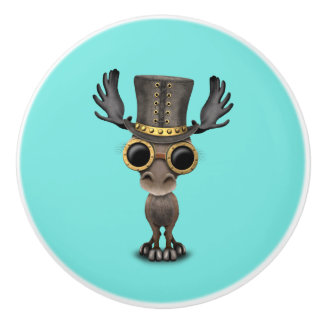 Cute Steampunk Baby Moose Ceramic Knob