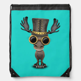 Cute Steampunk Baby Moose Drawstring Bag
