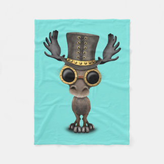 Cute Steampunk Baby Moose Fleece Blanket