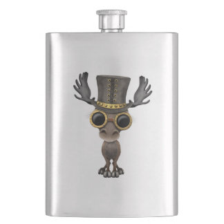 Cute Steampunk Baby Moose Hip Flask
