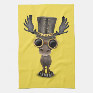 Cute Steampunk Baby Moose Kitchen Towel