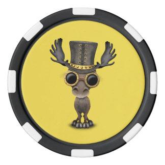 Cute Steampunk Baby Moose Poker Chips