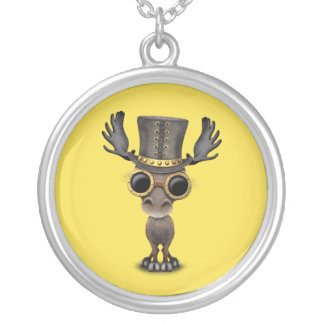 Cute Steampunk Baby Moose Silver Plated Necklace