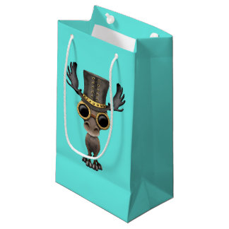Cute Steampunk Baby Moose Small Gift Bag