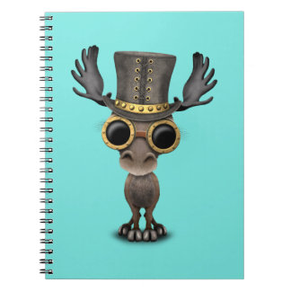 Cute Steampunk Baby Moose Spiral Notebook