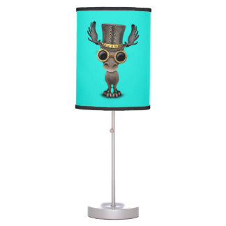 Cute Steampunk Baby Moose Table Lamp